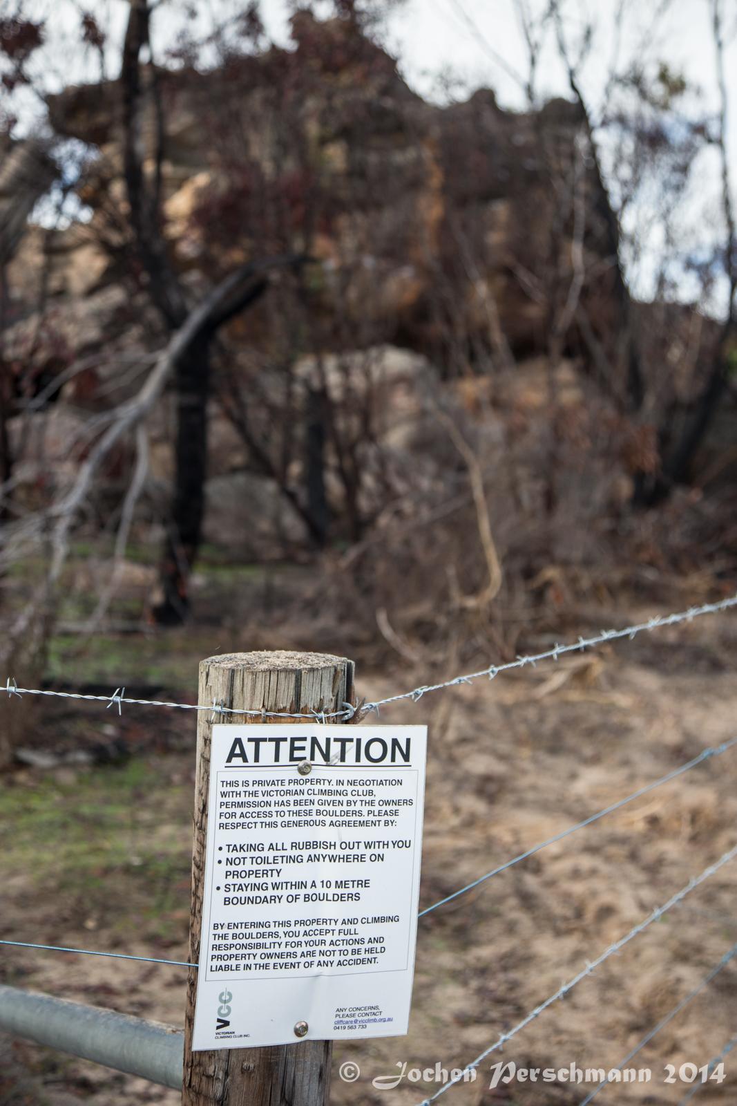 Der einzige Sektor der Nördlichen Grampians der nach den Bränden offen zum klettern ist